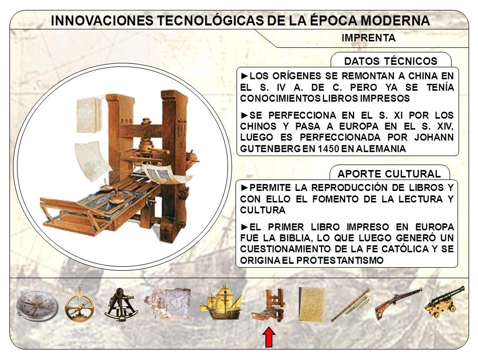 IMPRENTA INNOVACIONES TECNOLÓGICAS DE LA ÉPOCA MODERNA APORTE CULTURAL DATOS TÉCNICOS LOS ORÍGENES SE REMONTAN A CHINA EN EL S. IV A. DE C. PERO YA SE