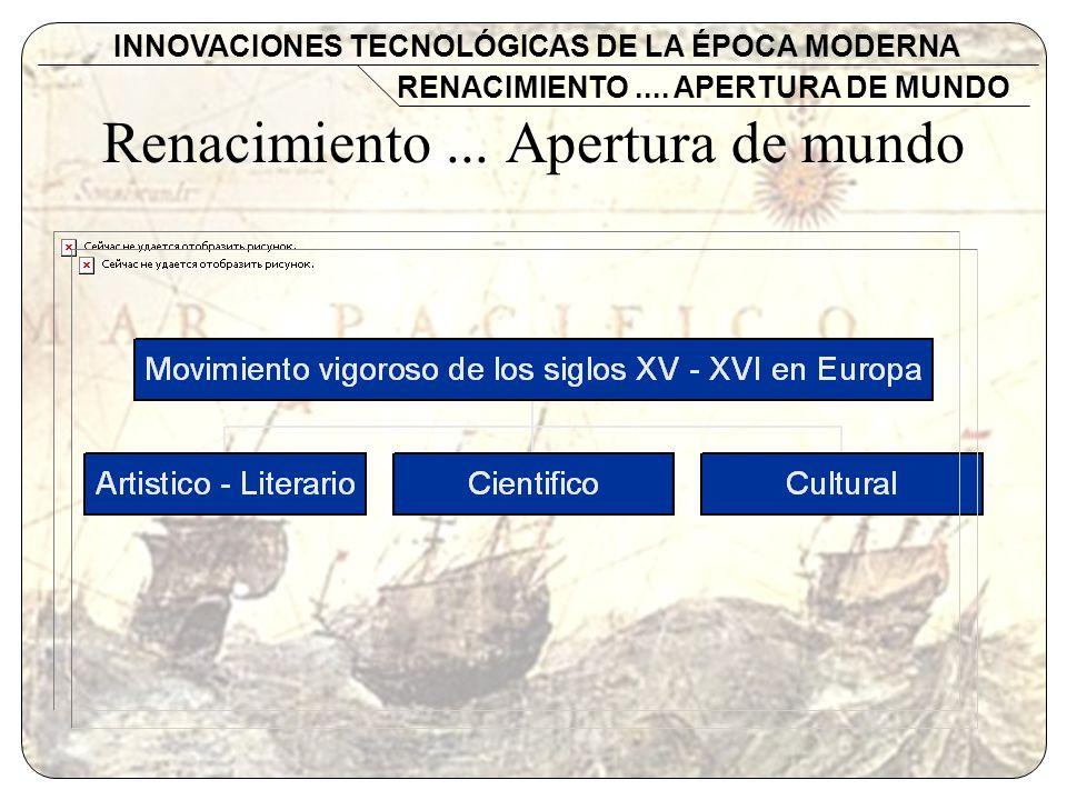 Renacimiento... Apertura de mundo INNOVACIONES TECNOLÓGICAS DE LA ÉPOCA MODERNA RENACIMIENTO.... APERTURA DE MUNDO