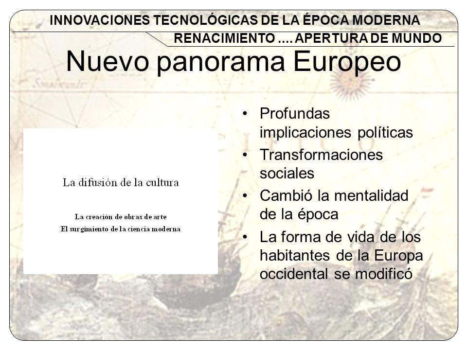 Nuevo panorama Europeo Profundas implicaciones políticas Transformaciones sociales Cambió la mentalidad de la época La forma de vida de los habitantes