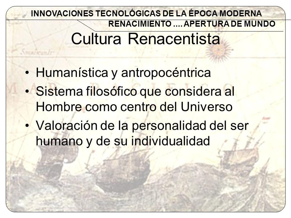 Cultura Renacentista Humanística y antropocéntrica Sistema filosófico que considera al Hombre como centro del Universo Valoración de la personalidad d