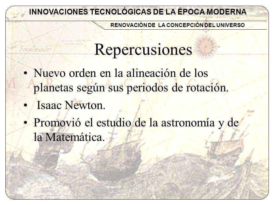 INNOVACIONES TECNOLÓGICAS DE LA ÉPOCA MODERNA RENOVACIÓN DE LA CONCEPCIÓN DEL UNIVERSO Repercusiones Nuevo orden en la alineación de los planetas segú