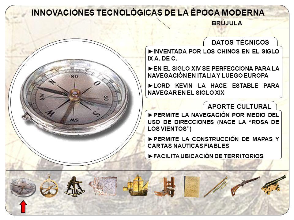 APORTE CULTURAL BRÚJULA INNOVACIONES TECNOLÓGICAS DE LA ÉPOCA MODERNA DATOS TÉCNICOS INVENTADA POR LOS CHINOS EN EL SIGLO IX A. DE C. EN EL SIGLO XIV