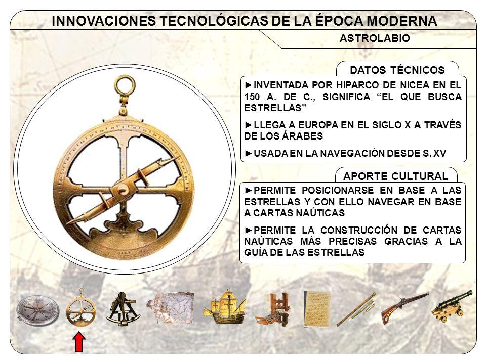 ASTROLABIO INNOVACIONES TECNOLÓGICAS DE LA ÉPOCA MODERNA APORTE CULTURAL DATOS TÉCNICOS INVENTADA POR HIPARCO DE NICEA EN EL 150 A. DE C., SIGNIFICA E