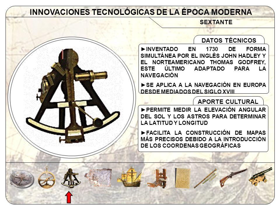 SEXTANTE INNOVACIONES TECNOLÓGICAS DE LA ÉPOCA MODERNA APORTE CULTURAL DATOS TÉCNICOS INVENTADO EN 1730 DE FORMA SIMULTÁNEA POR EL INGLÉS JOHN HADLEY