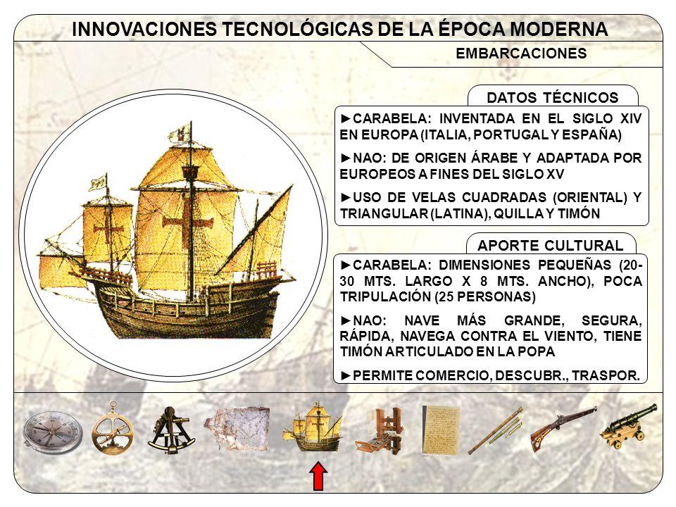 EMBARCACIONES INNOVACIONES TECNOLÓGICAS DE LA ÉPOCA MODERNA APORTE CULTURAL DATOS TÉCNICOS CARABELA: INVENTADA EN EL SIGLO XIV EN EUROPA (ITALIA, PORT