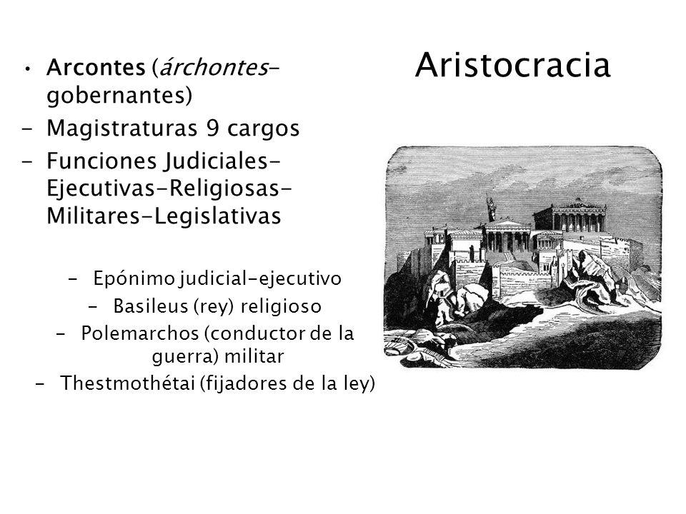 Aristocracia Arcontes (árchontes- gobernantes) -Magistraturas 9 cargos -Funciones Judiciales- Ejecutivas-Religiosas- Militares-Legislativas -Epónimo j