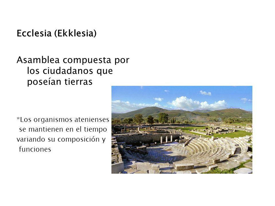Ecclesia (Ekklesia) Asamblea compuesta por los ciudadanos que poseían tierras *Los organismos atenienses se mantienen en el tiempo variando su composi