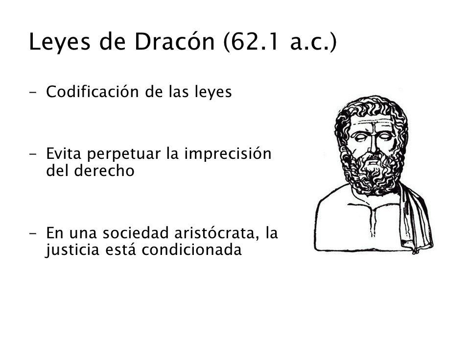Leyes de Dracón (62.1 a.c.) -Codificación de las leyes -Evita perpetuar la imprecisión del derecho -En una sociedad aristócrata, la justicia está cond