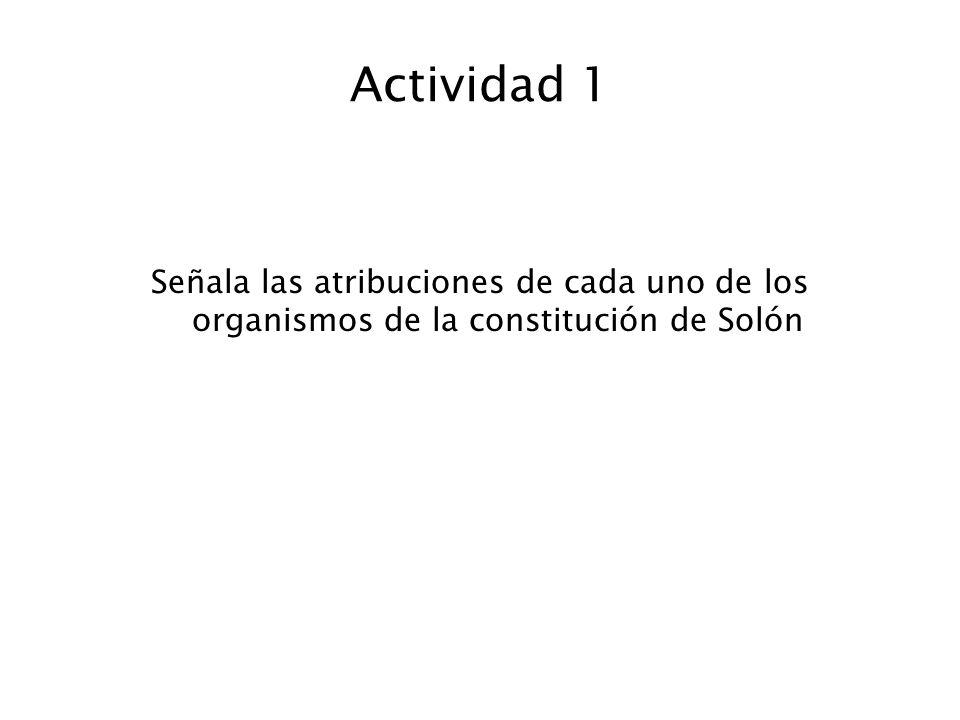 Actividad 1 Señala las atribuciones de cada uno de los organismos de la constitución de Solón