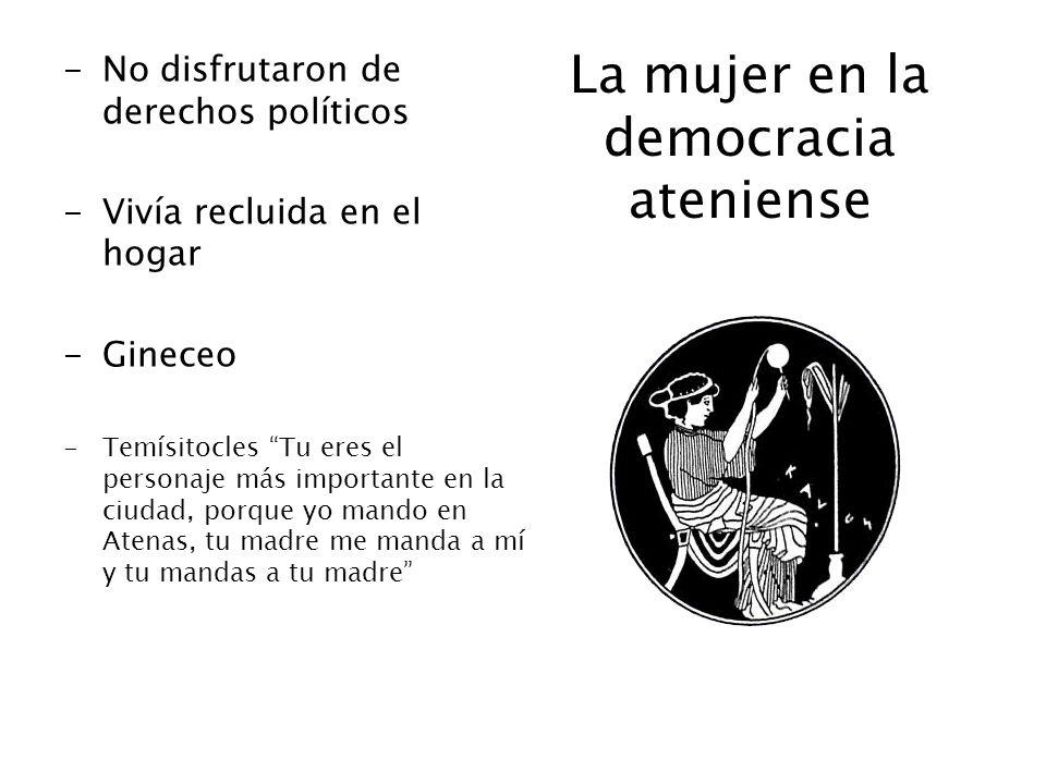 La mujer en la democracia ateniense -No disfrutaron de derechos políticos -Vivía recluida en el hogar -Gineceo -Temísitocles Tu eres el personaje más