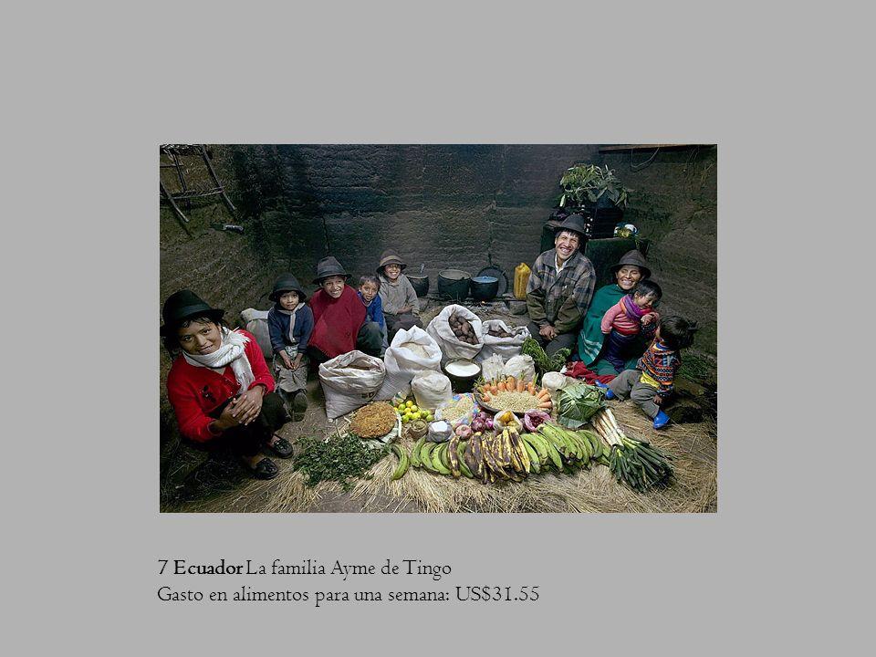 7 Ecuador La familia Ayme de Tingo Gasto en alimentos para una semana: US$31.55