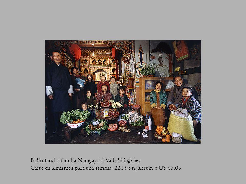 8 Bhutan: La familia Namgay del Valle Shingkhey Gasto en alimentos para una semana: 224.93 ngultrum o US $5.03