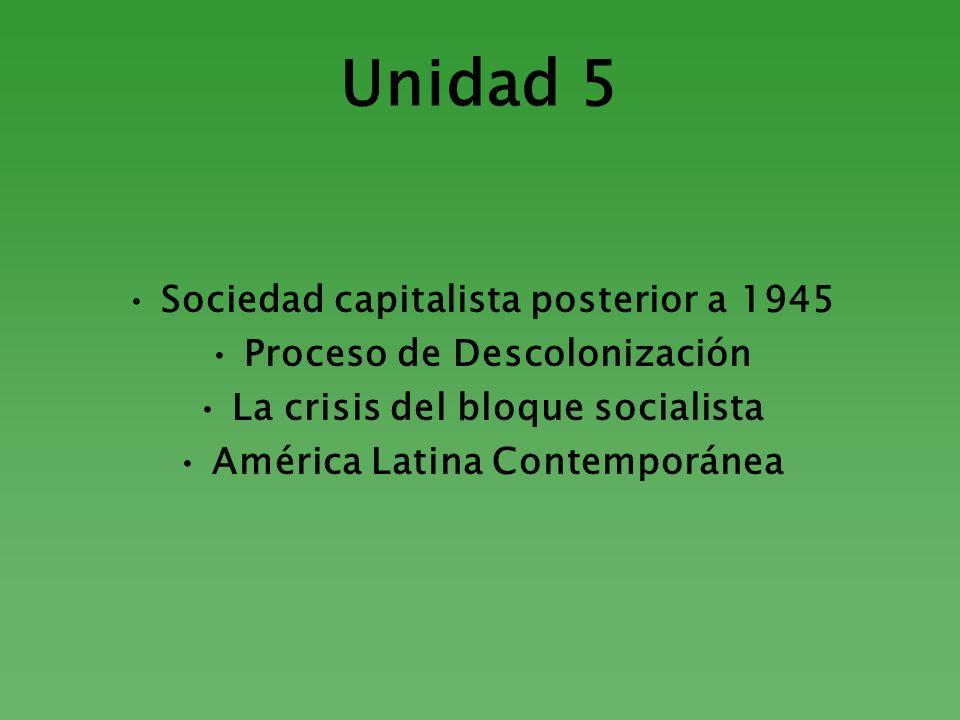Unidad 5 Sociedad capitalista posterior a 1945 Proceso de Descolonización La crisis del bloque socialista América Latina Contemporánea