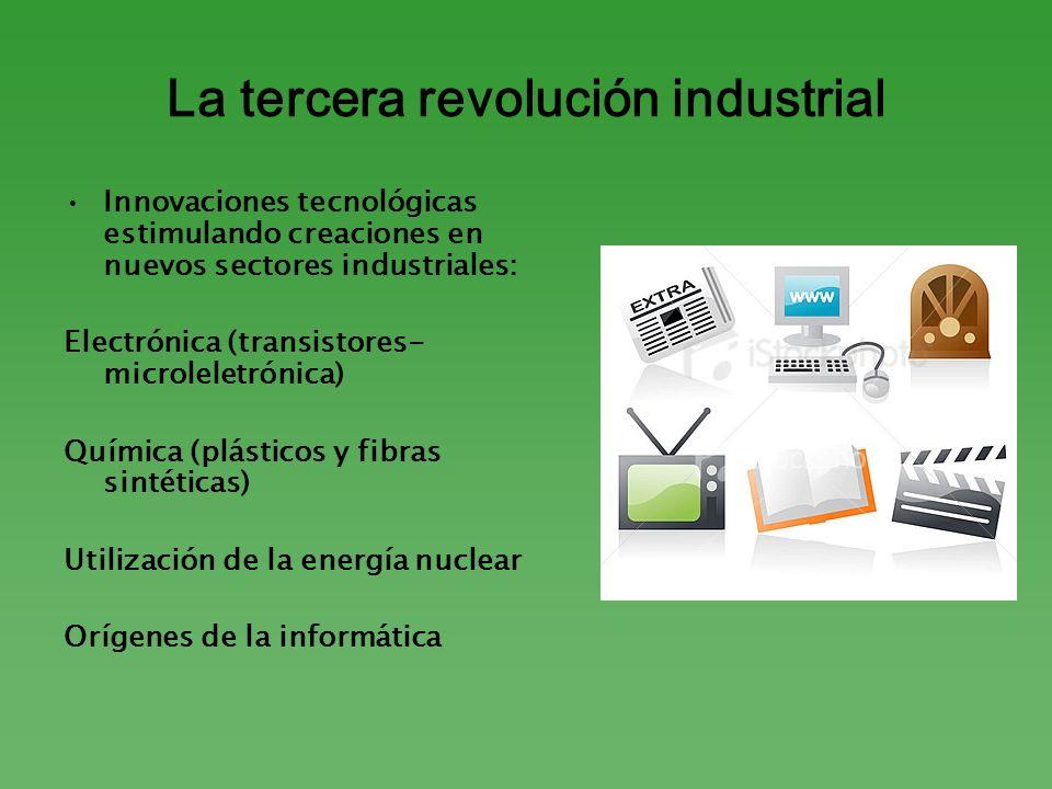 La tercera revolución industrial Innovaciones tecnológicas estimulando creaciones en nuevos sectores industriales: Electrónica (transistores- microlel