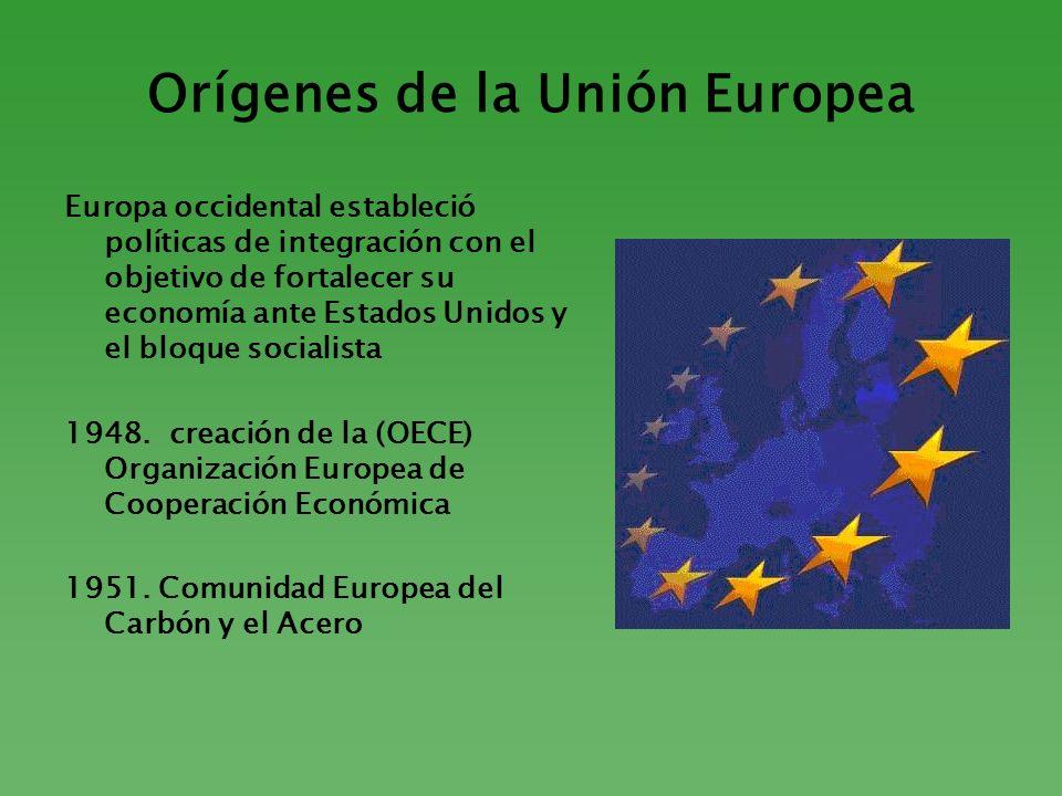 Orígenes de la Unión Europea Europa occidental estableció políticas de integración con el objetivo de fortalecer su economía ante Estados Unidos y el