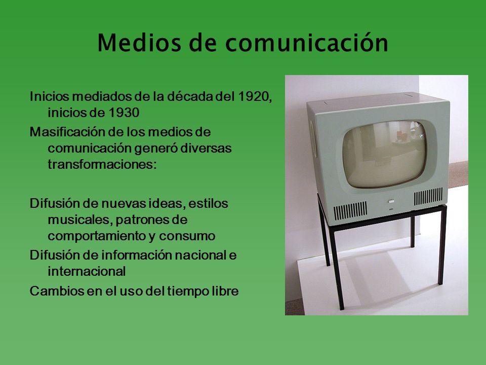 Medios de comunicación Inicios mediados de la década del 1920, inicios de 1930 Masificación de los medios de comunicación generó diversas transformaci