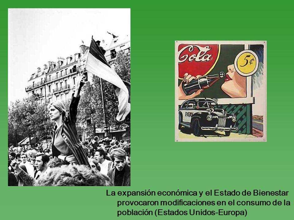 La expansión económica y el Estado de Bienestar provocaron modificaciones en el consumo de la población (Estados Unidos-Europa)