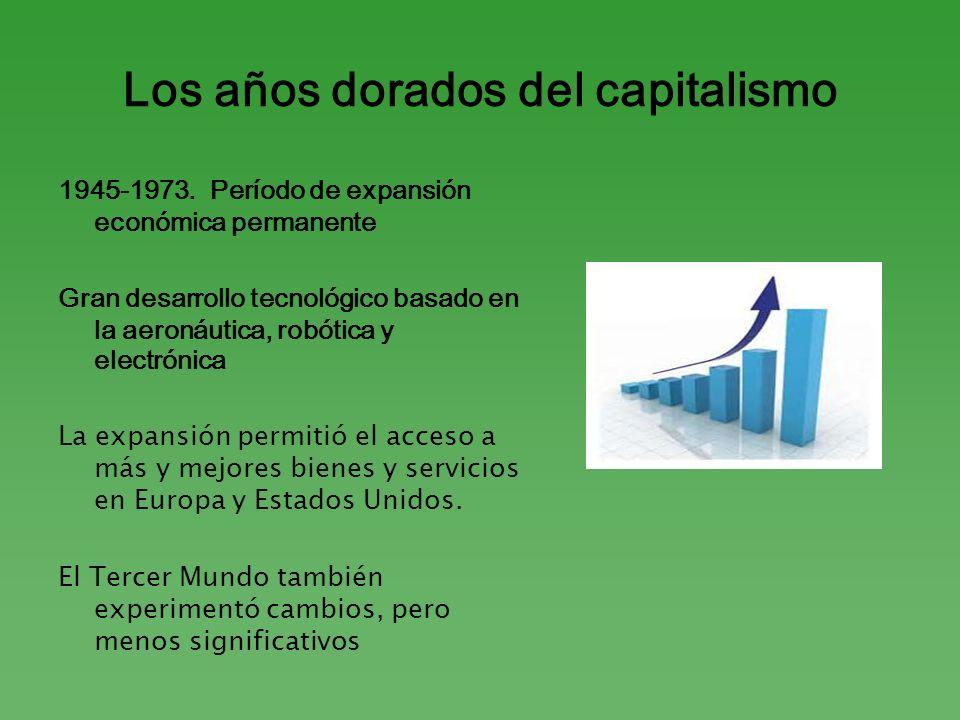 Los años dorados del capitalismo 1945-1973. Período de expansión económica permanente Gran desarrollo tecnológico basado en la aeronáutica, robótica y