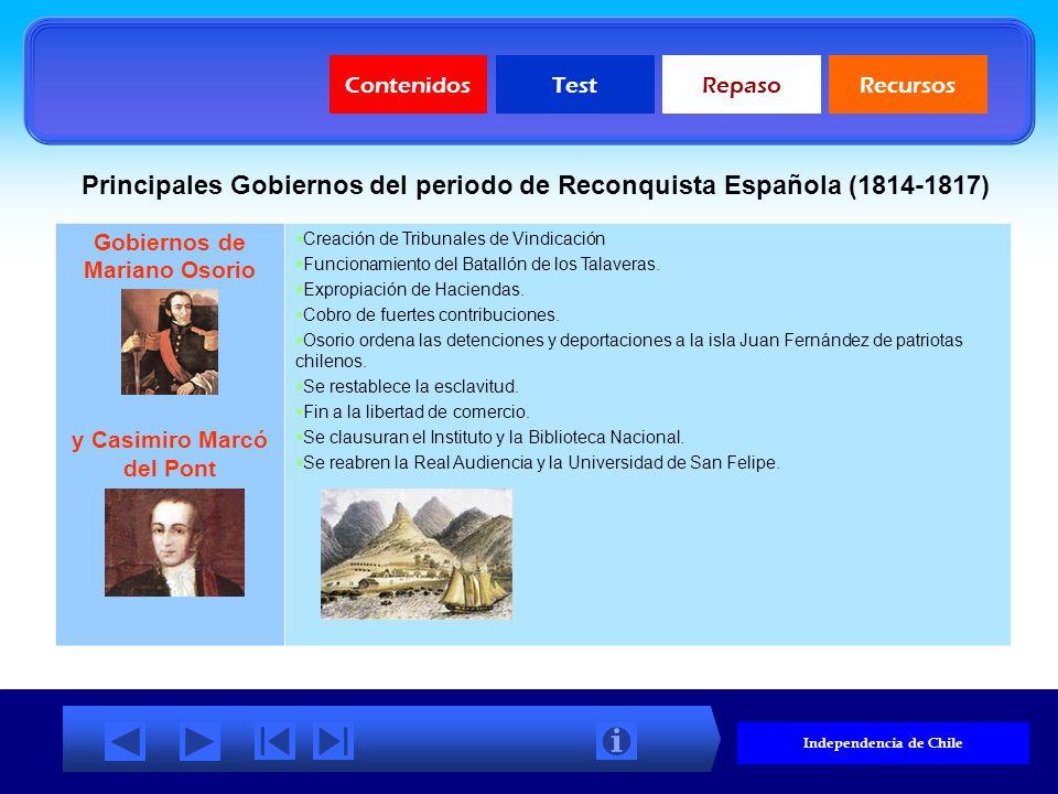 ContenidosTestRepasoRecursos Principales gobiernos y obras de la Patria Vieja (1810-1814) Primera Junta de Gobierno (1810) Comercio libre con las naci