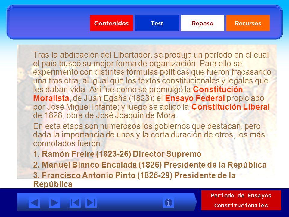 ContenidosTestRepasoRecursos Periodo de Ensayos Constitucionales Características ( continuación) Una fe ciega en el poder de la ley y una actitud imit
