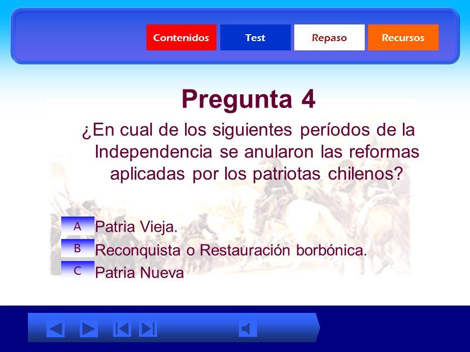 ContenidosTestRepasoRecursos Pregunta 3 Responda verdadero o falso a la siguiente aseveración: La Independencia de Chile es un proceso multicausal: Ve