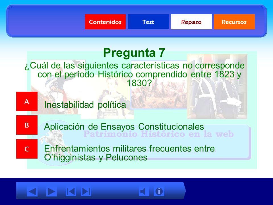 ContenidosTestRepasoRecursos Test sobre el Período de Ensayos Constitucionales Test sobre el Período de Ensayos Constitucionales
