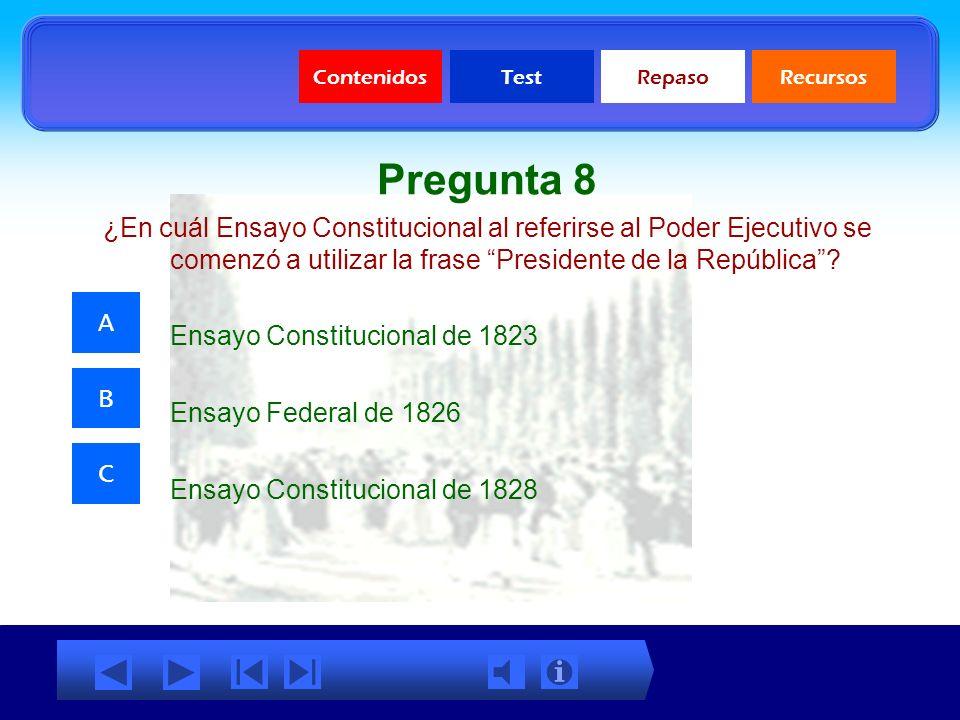 ContenidosTestRepasoRecursos Pregunta 7 ¿Cuál de las siguientes características no corresponde con el período Histórico comprendido entre 1823 y 1830?