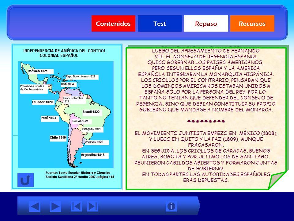 ContenidosTestRepasoRecursos Independencia de Chile Mapas temáticos Mapa Independencia países de América Mapa Batallas de la Independencia de Chile Ma