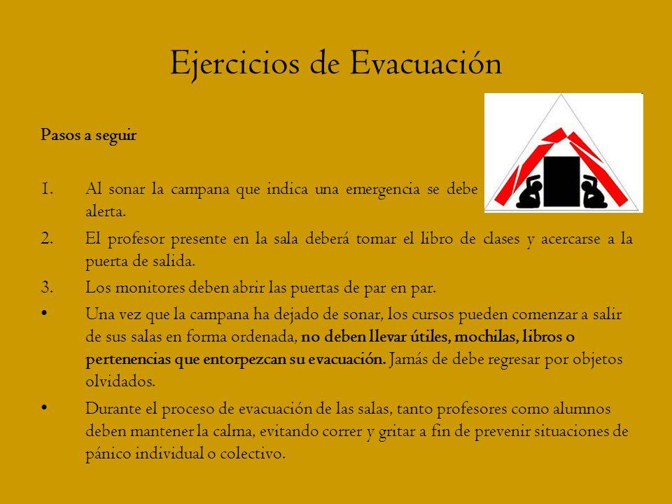 Ejercicios de Evacuación Pasos a seguir 1.Al sonar la campana que indica una emergencia se debe tomar una actitud de alerta. 2.El profesor presente en