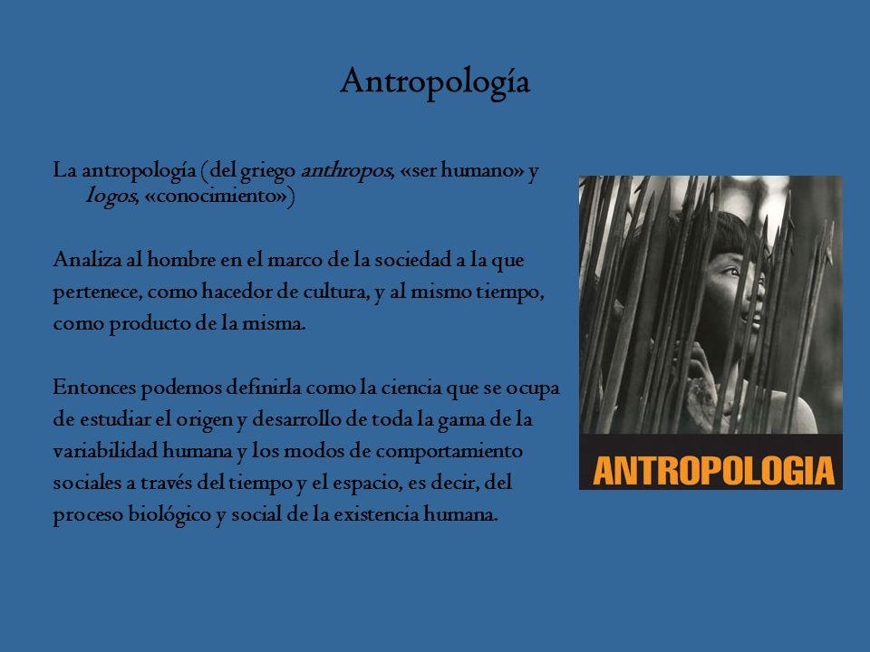 Antropología La antropología (del griego anthropos, «ser humano» y logos, «conocimiento») Analiza al hombre en el marco de la sociedad a la que pertenece, como hacedor de cultura, y al mismo tiempo, como producto de la misma.
