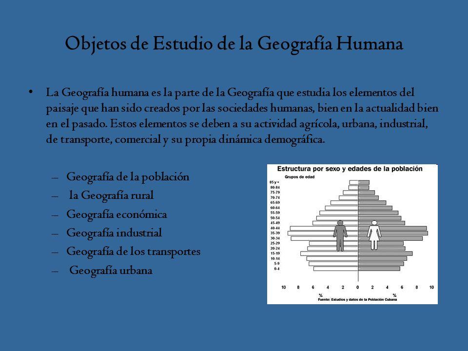 Objetos de Estudio de la Geografía Humana La Geografía humana es la parte de la Geografía que estudia los elementos del paisaje que han sido creados por las sociedades humanas, bien en la actualidad bien en el pasado.