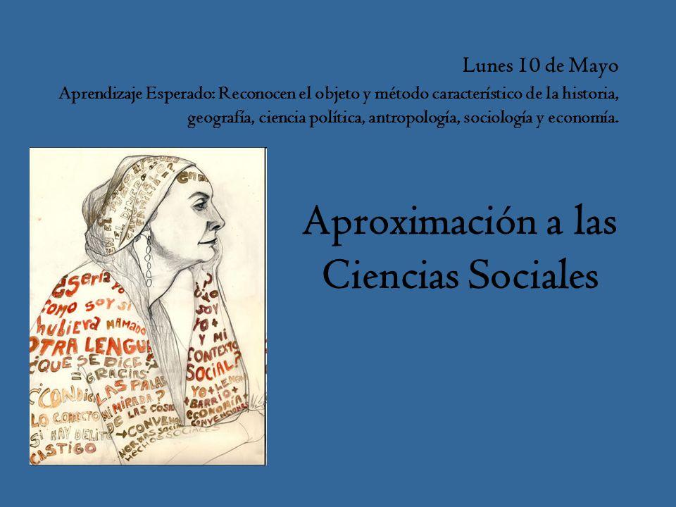 Lunes 10 de Mayo Aprendizaje Esperado: Reconocen el objeto y método característico de la historia, geografía, ciencia política, antropología, sociología y economía.