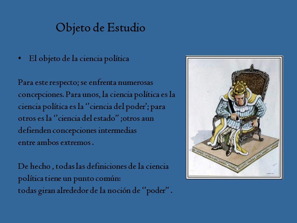Objeto de Estudio El objeto de la ciencia política Para este respecto; se enfrenta numerosas concepciones.