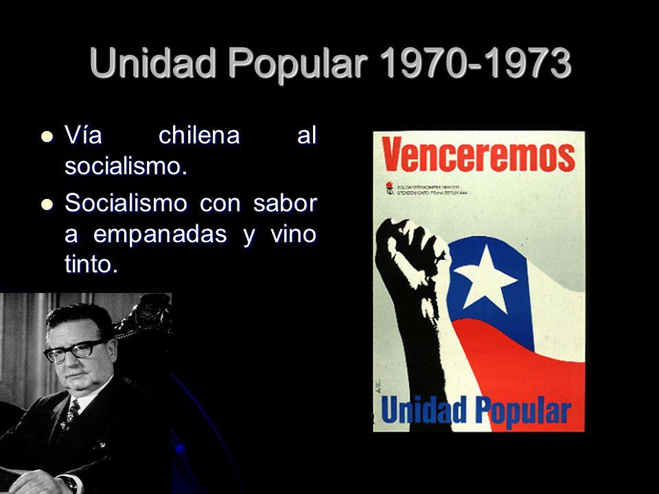 Unidad Popular 1970-1973 Vía chilena al socialismo. Vía chilena al socialismo. Socialismo con sabor a empanadas y vino tinto. Socialismo con sabor a e