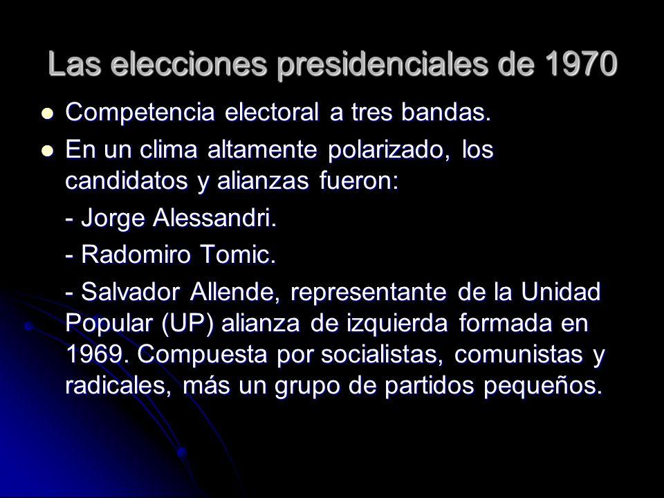 Las elecciones presidenciales de 1970 Competencia electoral a tres bandas. Competencia electoral a tres bandas. En un clima altamente polarizado, los