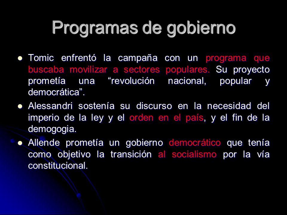 Programas de gobierno Tomic enfrentó la campaña con un programa que buscaba movilizar a sectores populares. Su proyecto prometía una revolución nacion
