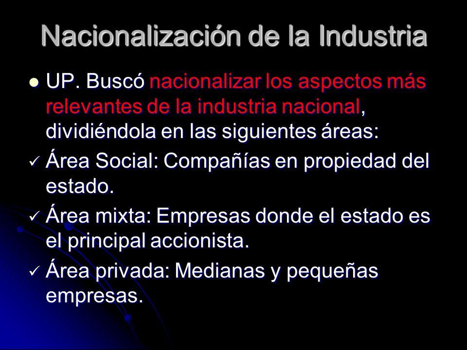 Nacionalización de la Industria UP. Buscó nacionalizar los aspectos más relevantes de la industria nacional, dividiéndola en las siguientes áreas: UP.