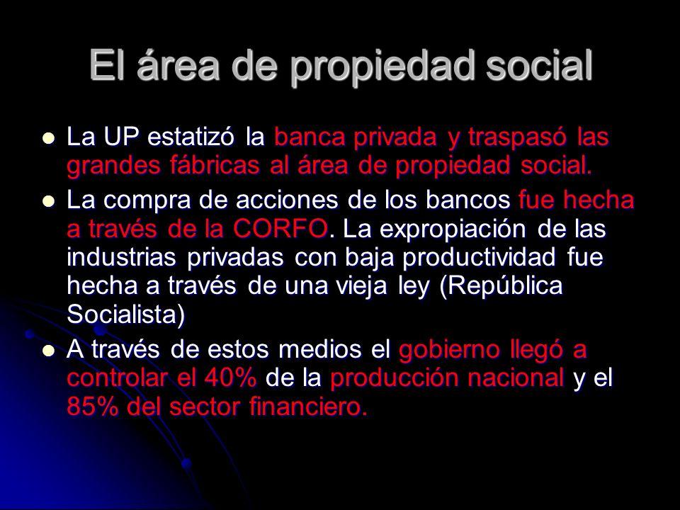 El área de propiedad social La UP estatizó la banca privada y traspasó las grandes fábricas al área de propiedad social. La UP estatizó la banca priva