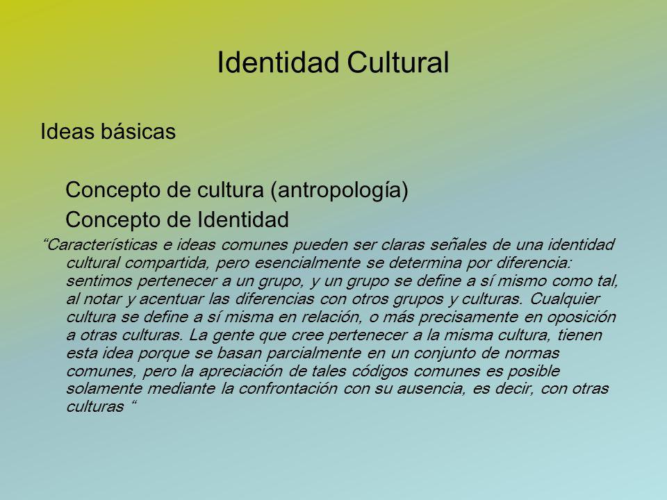 Identidad Cultural Ideas básicas Concepto de cultura (antropología) Concepto de Identidad Características e ideas comunes pueden ser claras señales de