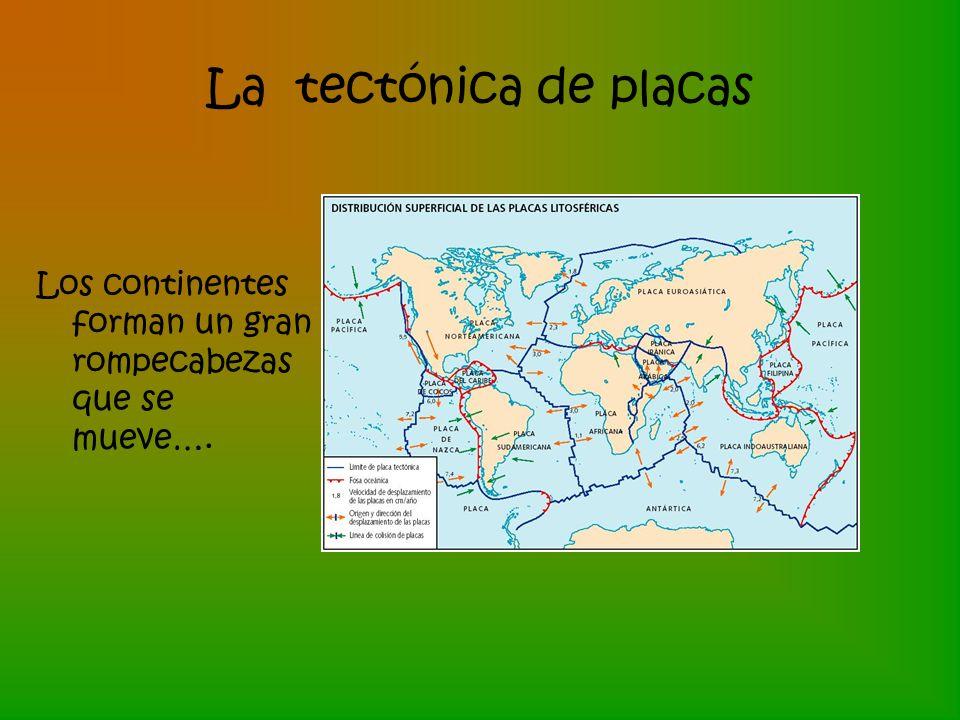 La tectónica de placas Los continentes forman un gran rompecabezas que se mueve….