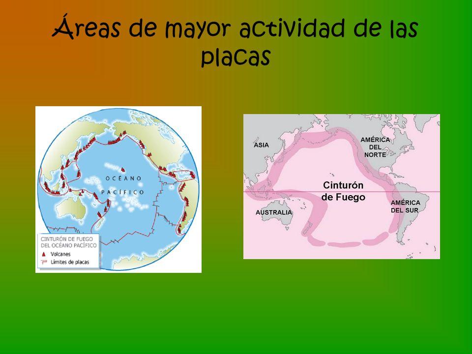 Áreas de mayor actividad de las placas