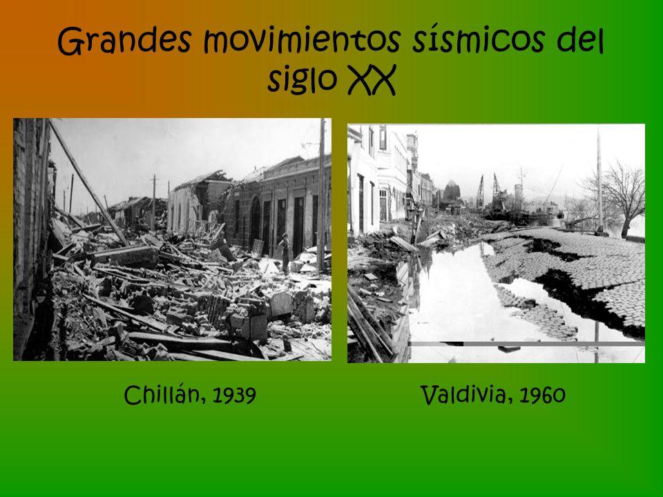 Grandes movimientos sísmicos del siglo XX Chillán, 1939Valdivia, 1960