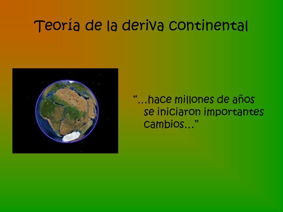 Teoría de la deriva continental …hace millones de años se iniciaron importantes cambios…