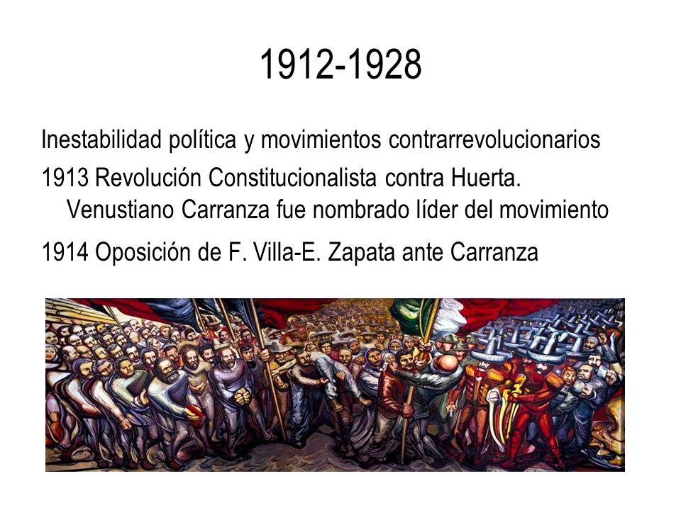 1912-1928 Inestabilidad política y movimientos contrarrevolucionarios 1913 Revolución Constitucionalista contra Huerta. Venustiano Carranza fue nombra