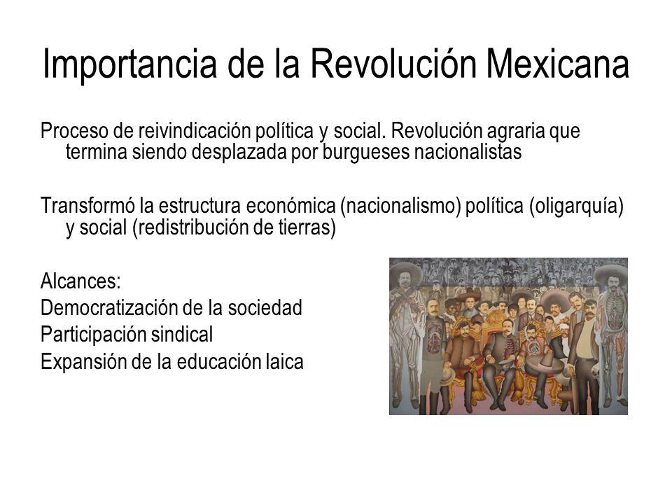 Importancia de la Revolución Mexicana Proceso de reivindicación política y social. Revolución agraria que termina siendo desplazada por burgueses naci