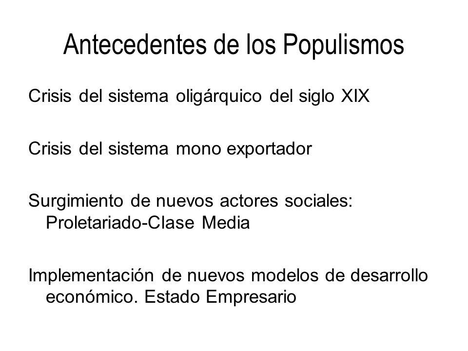 Antecedentes de los Populismos Crisis del sistema oligárquico del siglo XIX Crisis del sistema mono exportador Surgimiento de nuevos actores sociales: