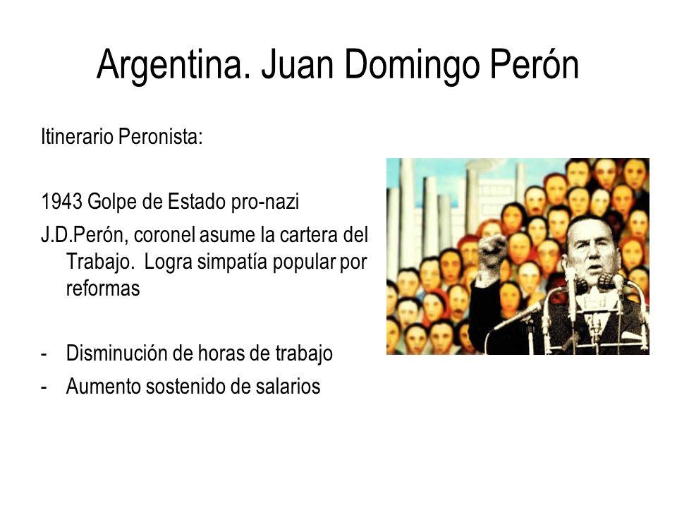 Argentina. Juan Domingo Perón Itinerario Peronista: 1943 Golpe de Estado pro-nazi J.D.Perón, coronel asume la cartera del Trabajo. Logra simpatía popu