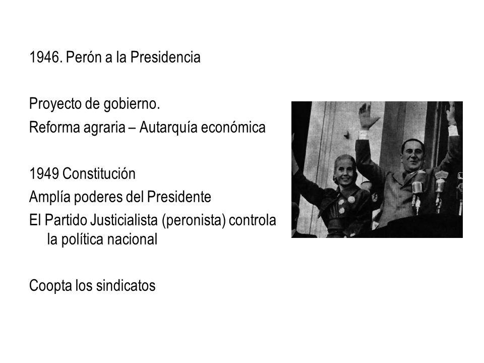 1946. Perón a la Presidencia Proyecto de gobierno. Reforma agraria – Autarquía económica 1949 Constitución Amplía poderes del Presidente El Partido Ju