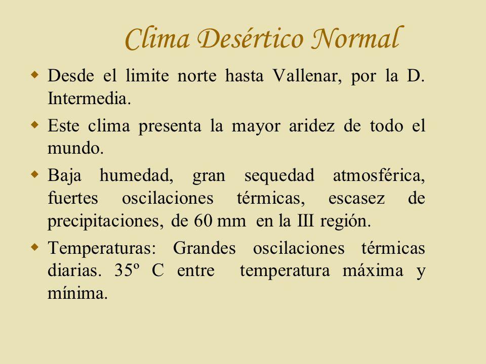 Clima Desértico Normal Desde el limite norte hasta Vallenar, por la D.