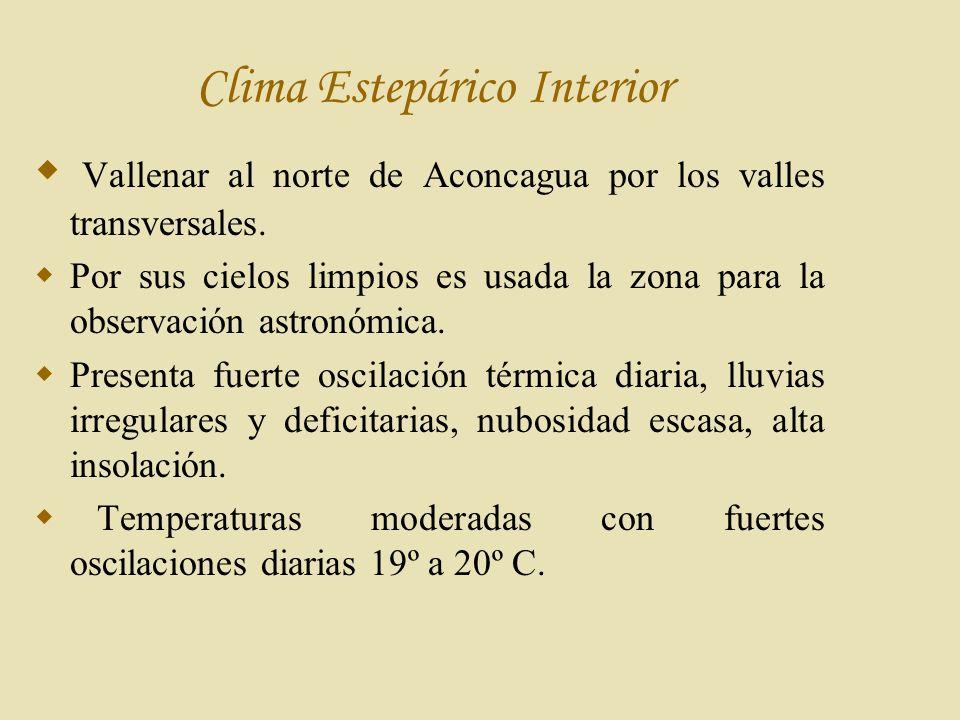 Clima Estepárico Interior Vallenar al norte de Aconcagua por los valles transversales.